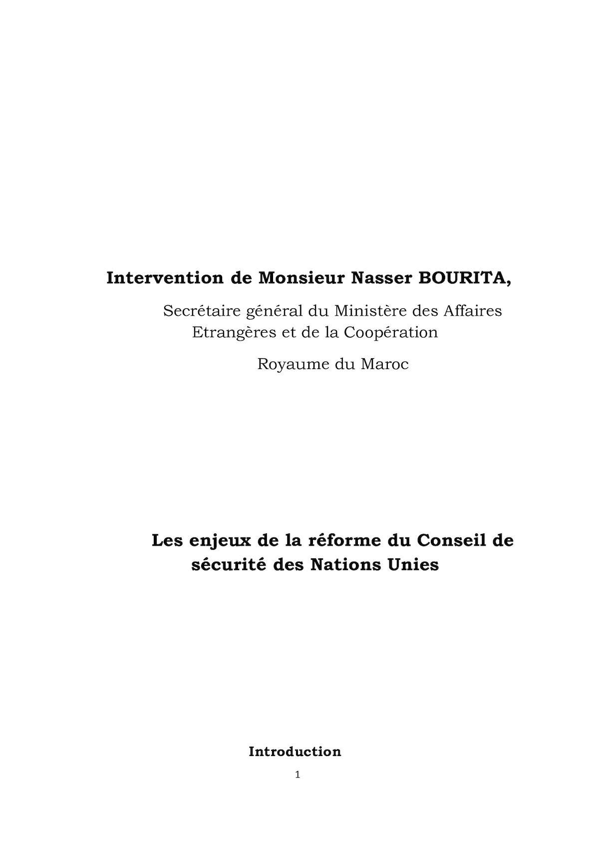 Présentation De Monsieur Le Secrétaire Général Sur La Réforme Du Conseil De Sécurité.