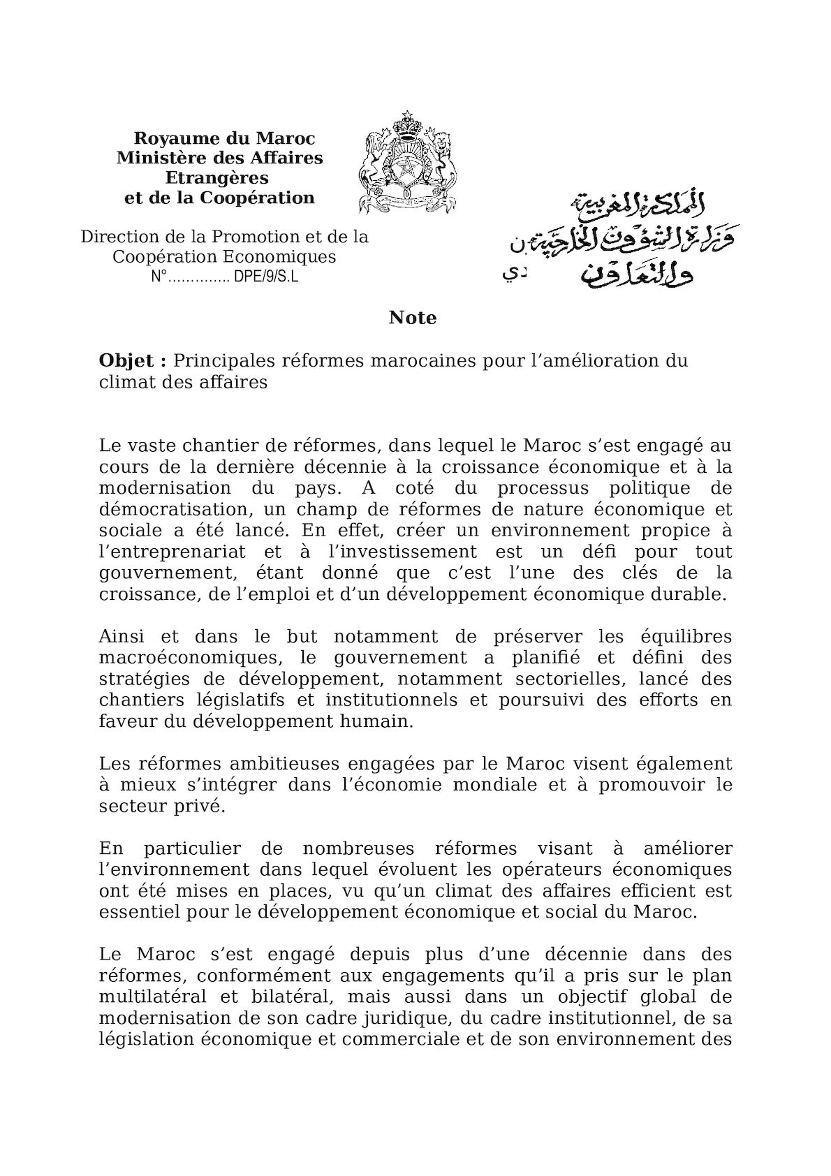 Réformes Marocaines Amélioration Du Climat Des Affaires