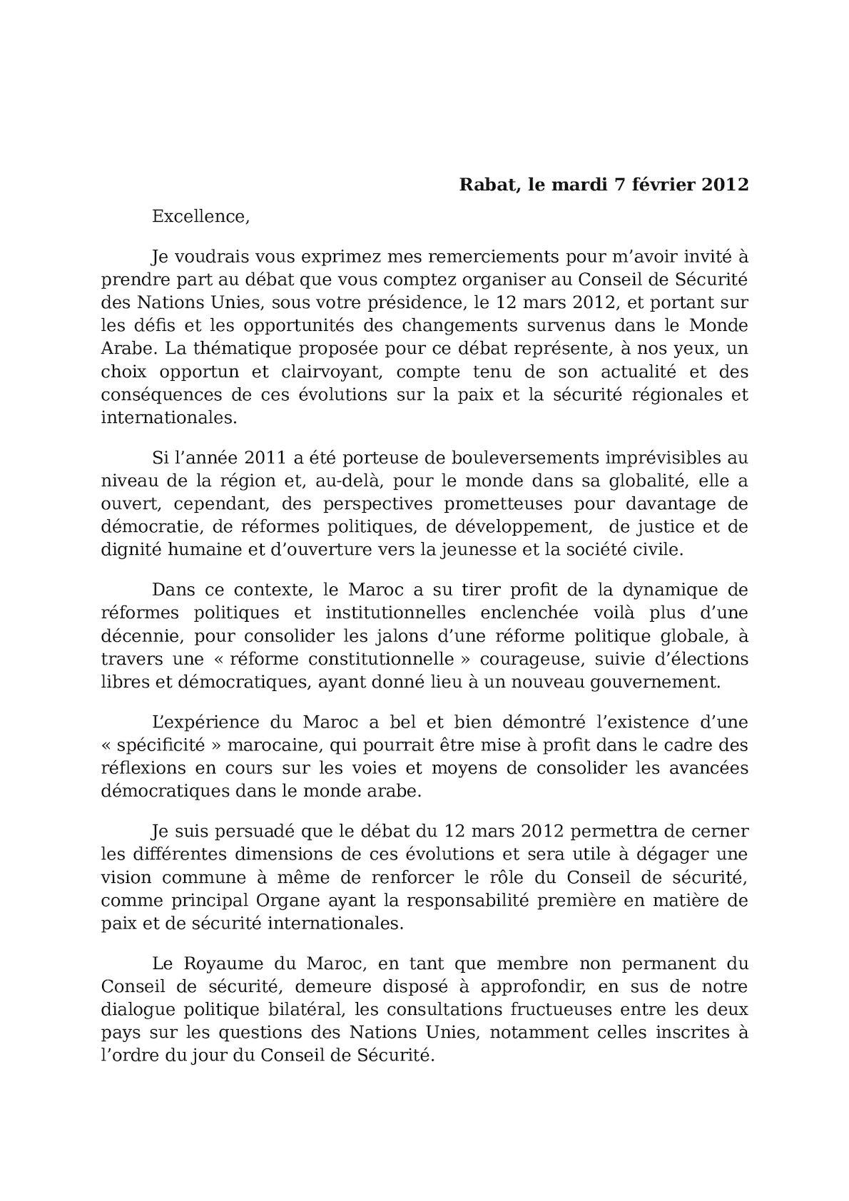 Reponse De M. Le Min à La Lettre D'invitation De W. Hague