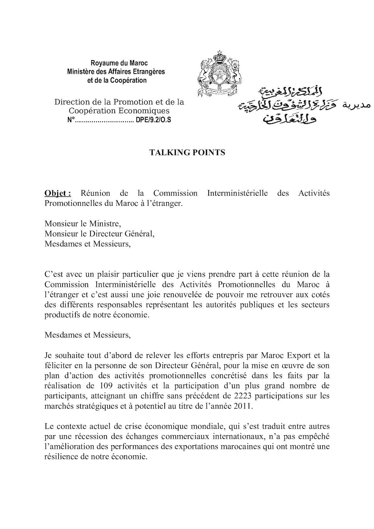 Talking Points - Commission Interministérielle Des Activités Promotionnelles Du Maroc