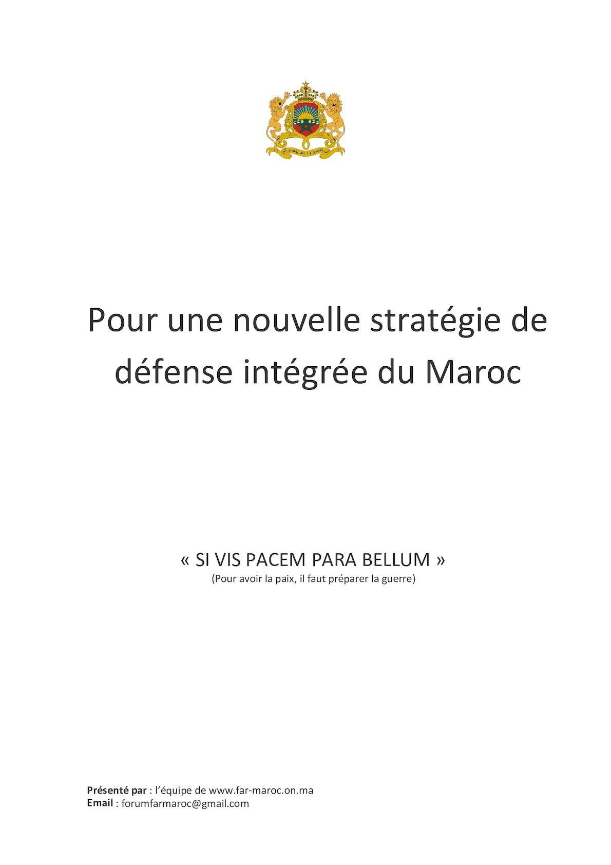 Pour Une Nouvelle Stratégie De Défense Intégrée Du Maroc