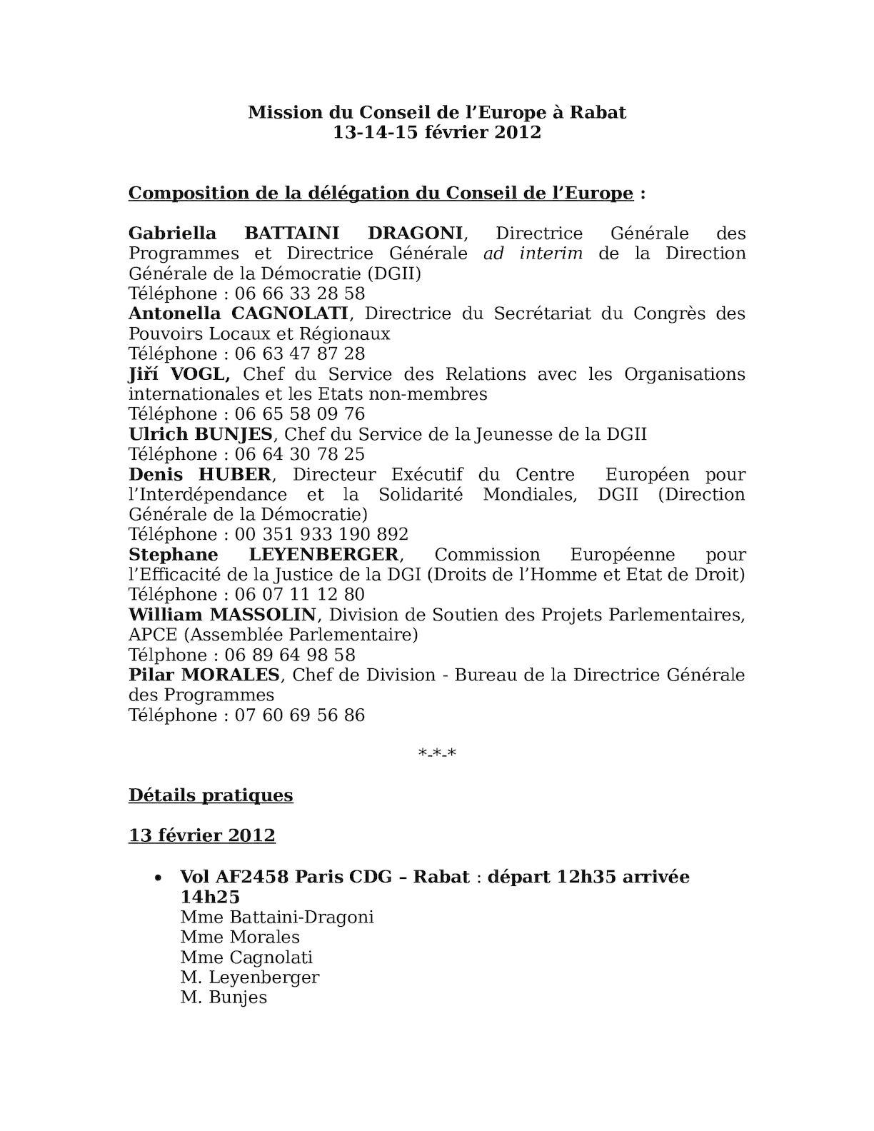 Mission Du Conseil De L'Europe à Rabat