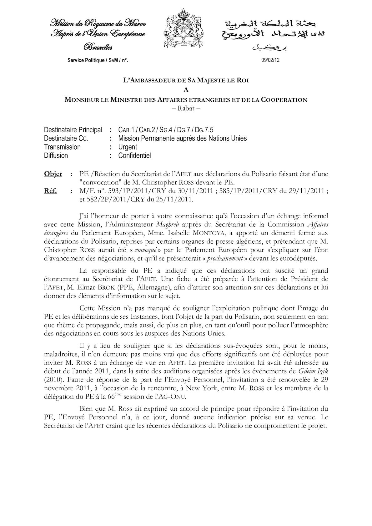 Réaction Du Secrétariat De L'AFET Aux Déclarations Du Polisario Faisant état D'une Convocation De M. Christopher ROSS Devant Le PE