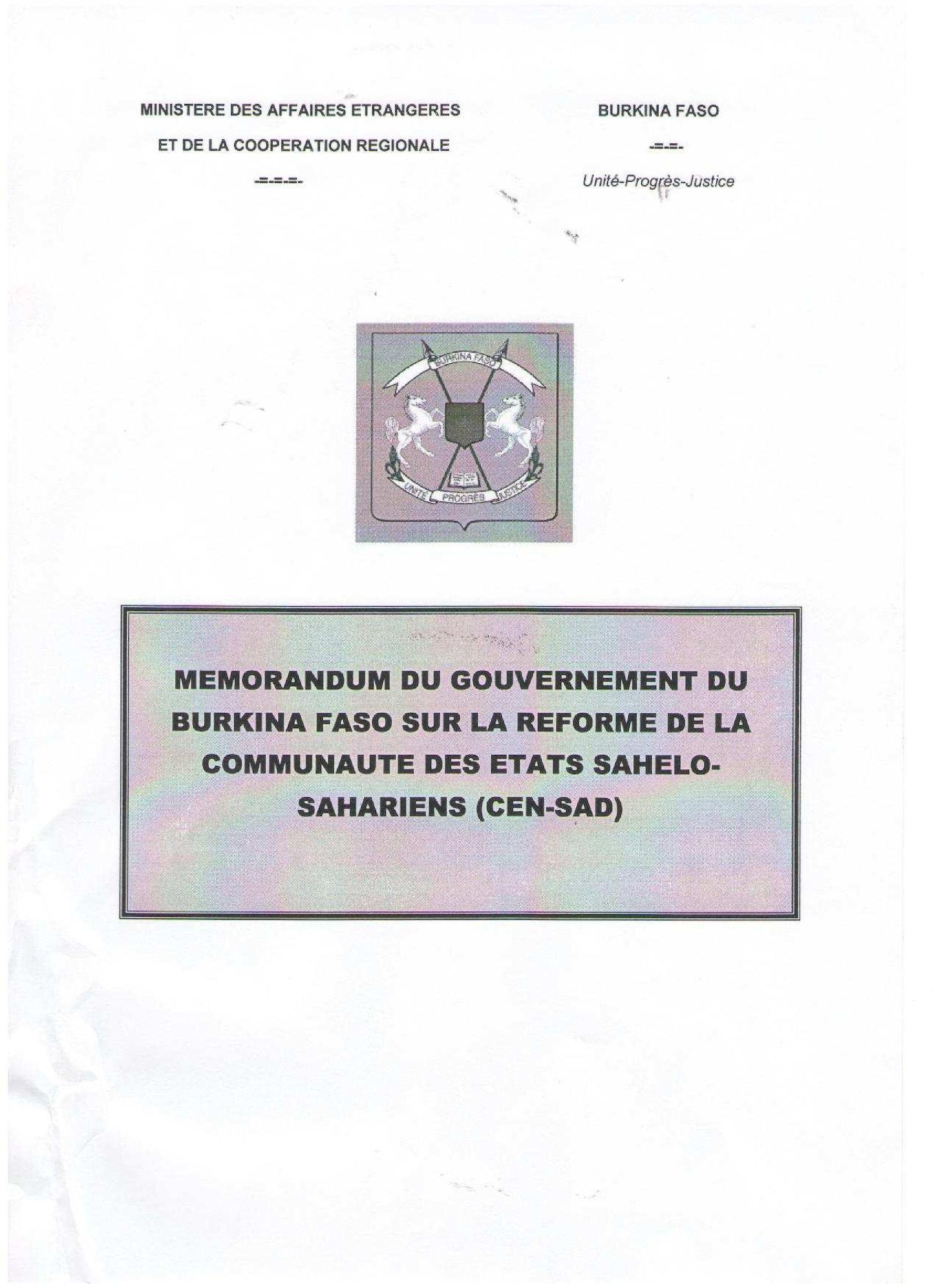 Reforme CENSAD Memorandum Burkina Faso