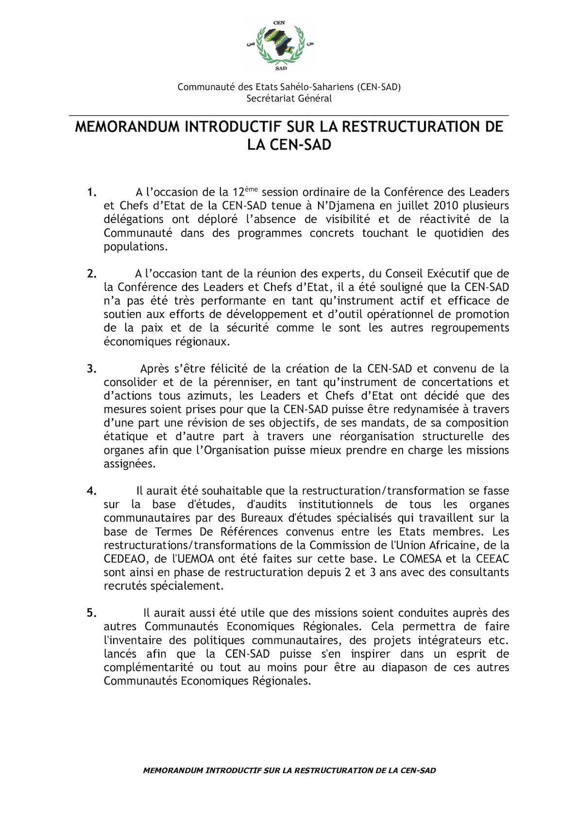 Restructuration CEN SAD Version Corrigée