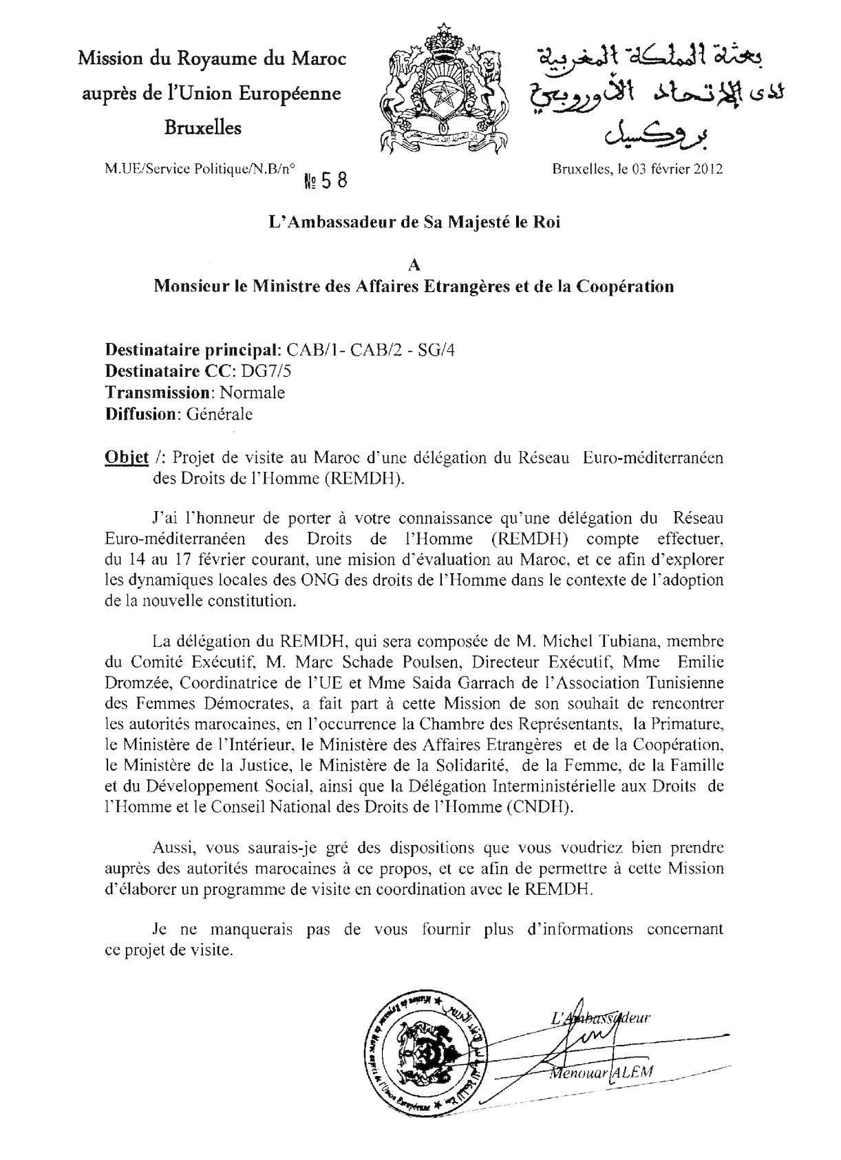Projet De Visite Au Maroc D'une Délégation Du Réseau Euromed Des Droits De L'Homme REMDH