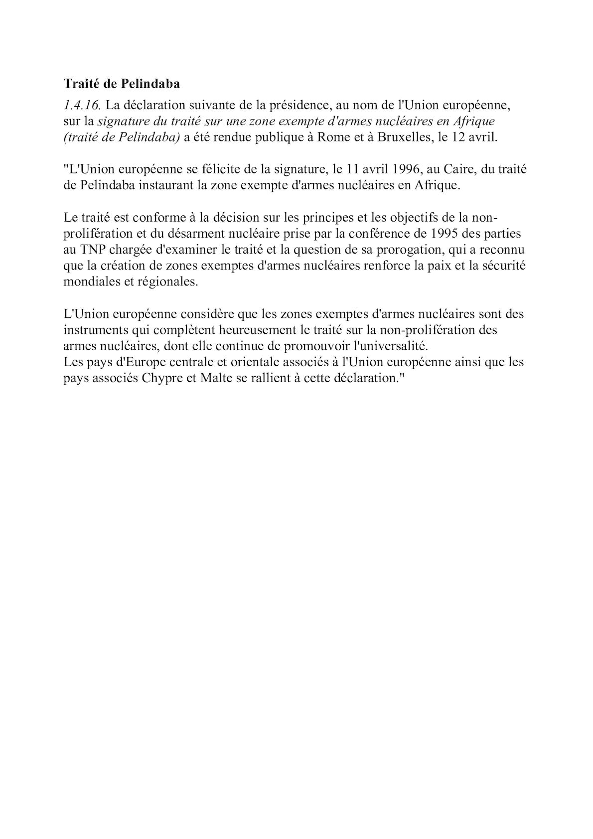 Declaration De L'UE