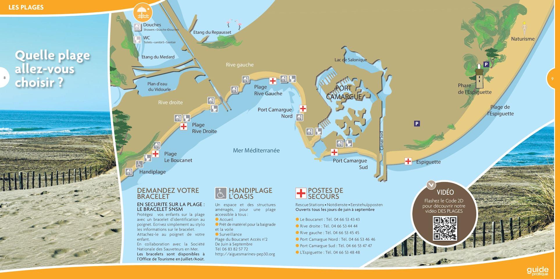 Calam o carte plan des plages le grau du roi port for Plan grau du roi
