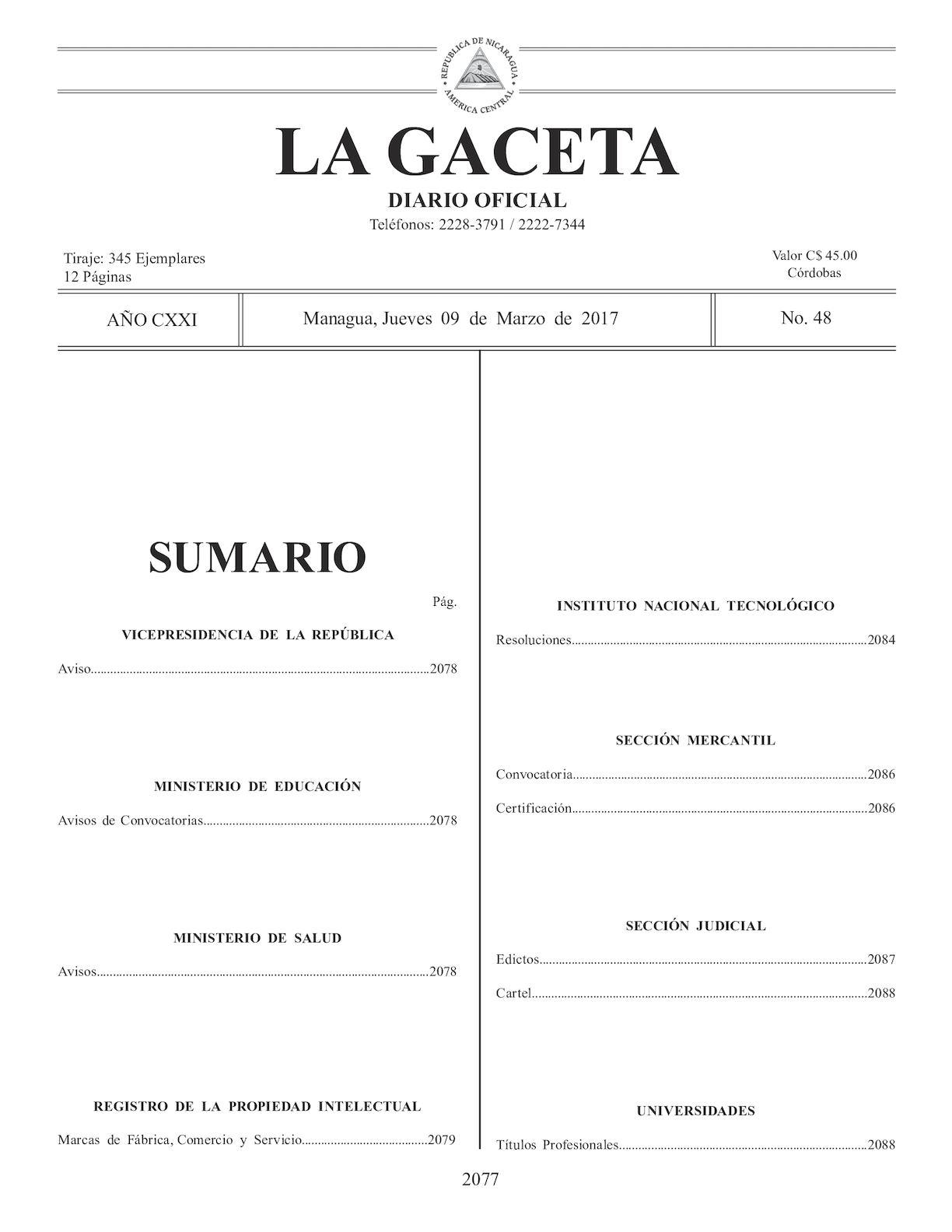 Calamo Gaceta No 48 Jueves 09 De Marzo 2017 Circuitos Miscelaneos