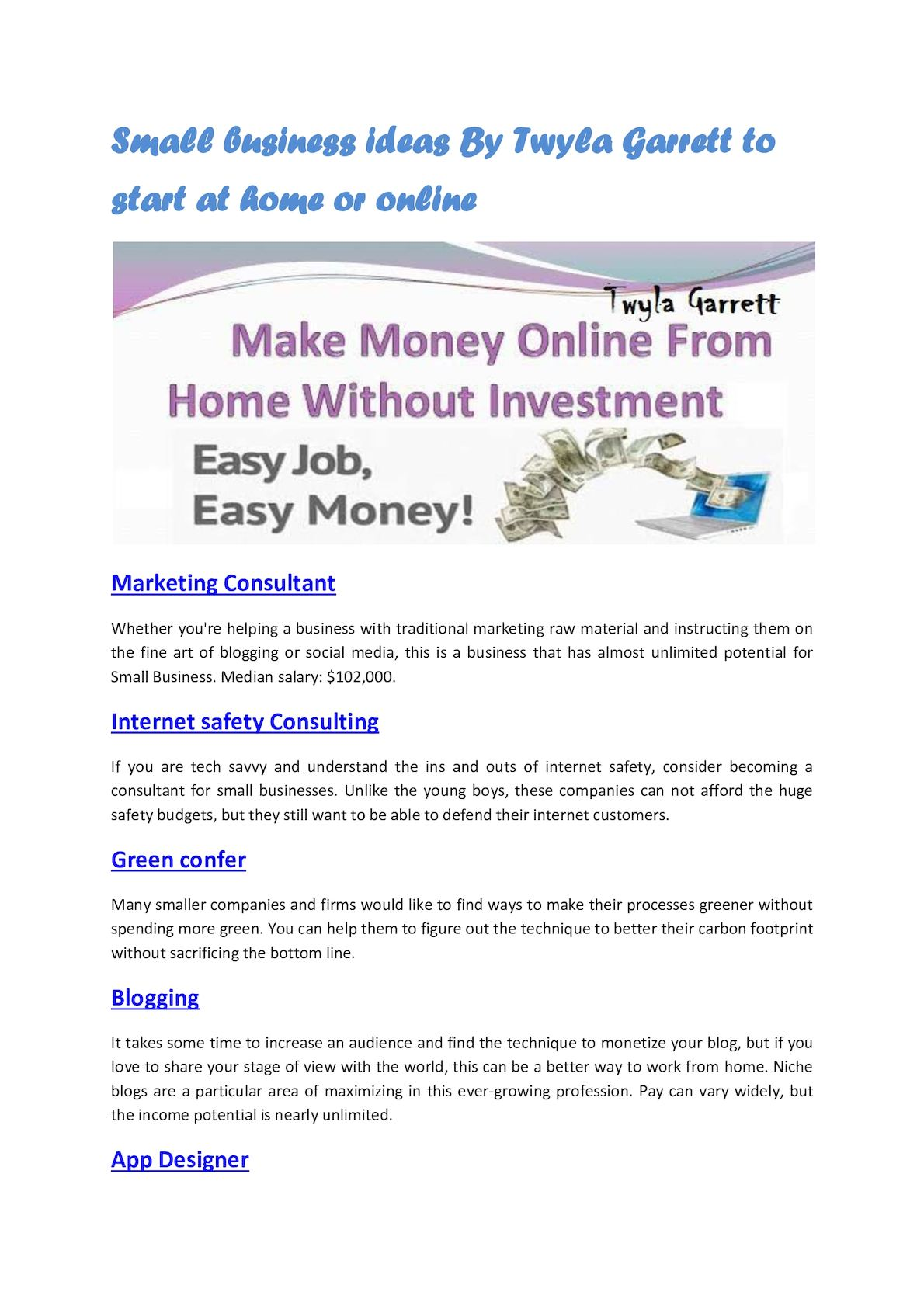 Calaméo - Small Business Ideas By Twyla Garrett To Start At Home Or ...