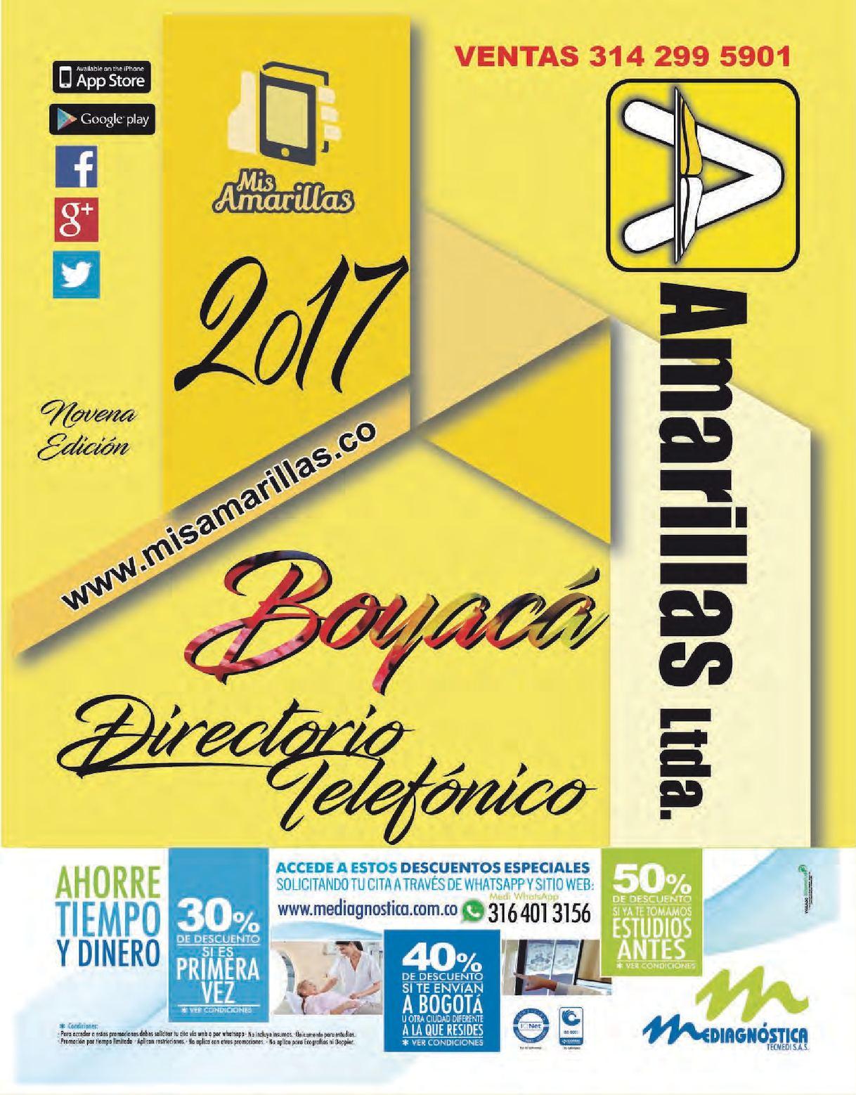 DIRECTORIO TELEFONICO DE BOYACA EDICION 2017