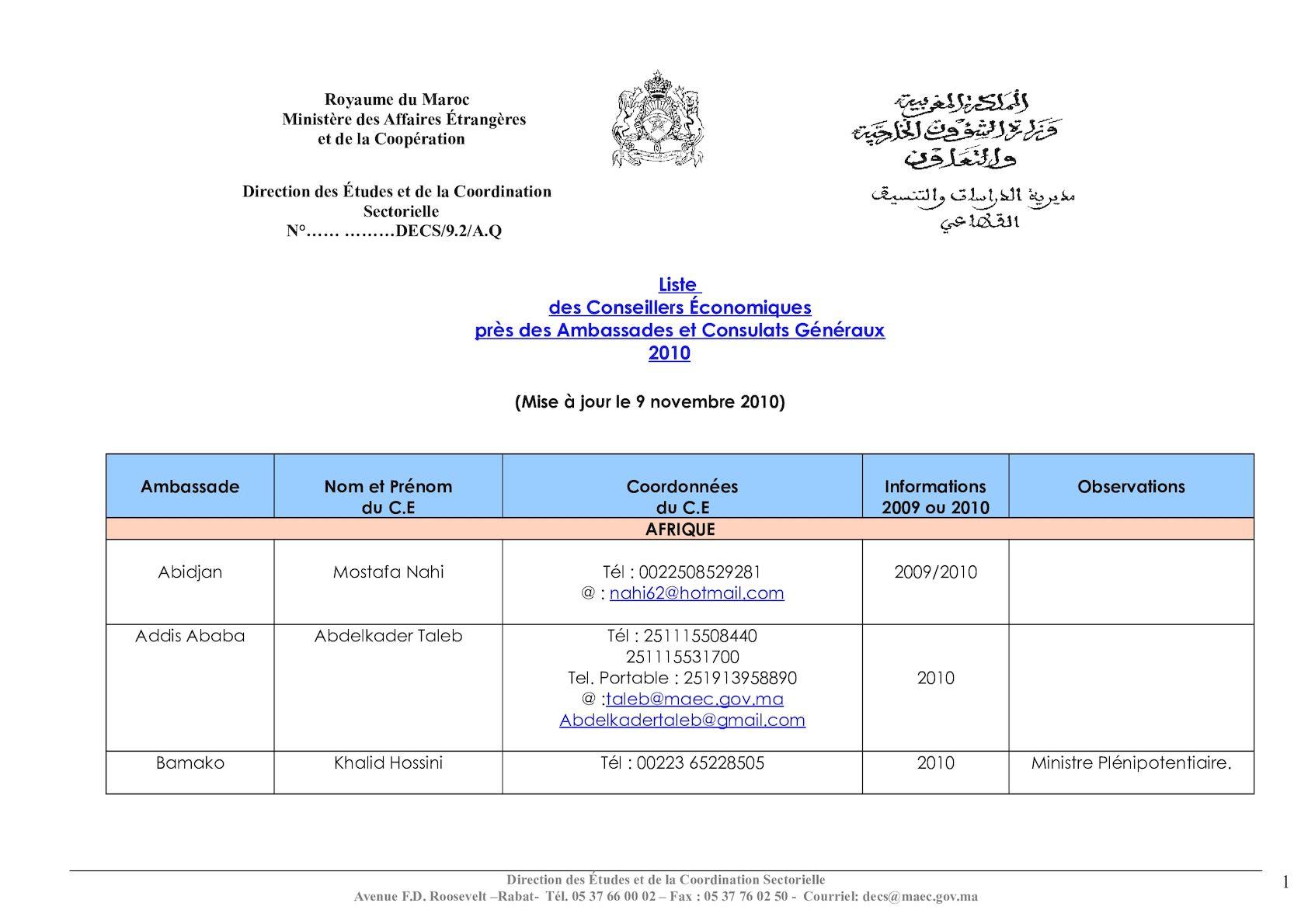 Liste Des Conseillers éco Près Des Amb Et Consulats Généraux (dernière Version).