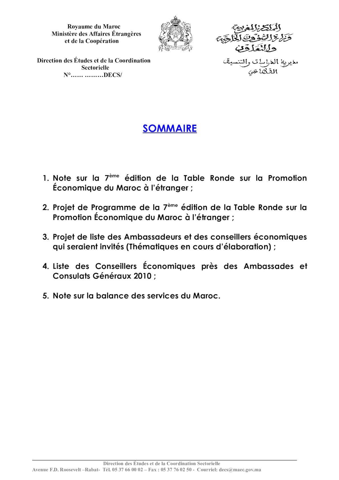 SOMMAIRE DOSSIER A L ATTENTION DE M LE MINISTRE TABLE RONDE