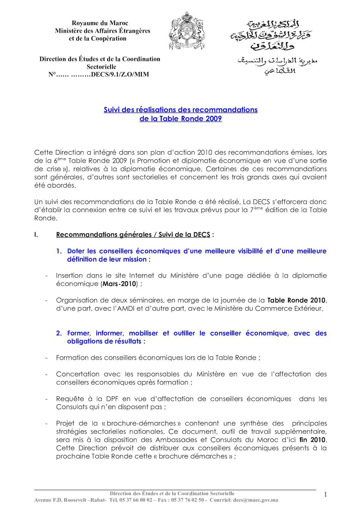 Suivi De La Table Ronde (version Au 12 11 2010).
