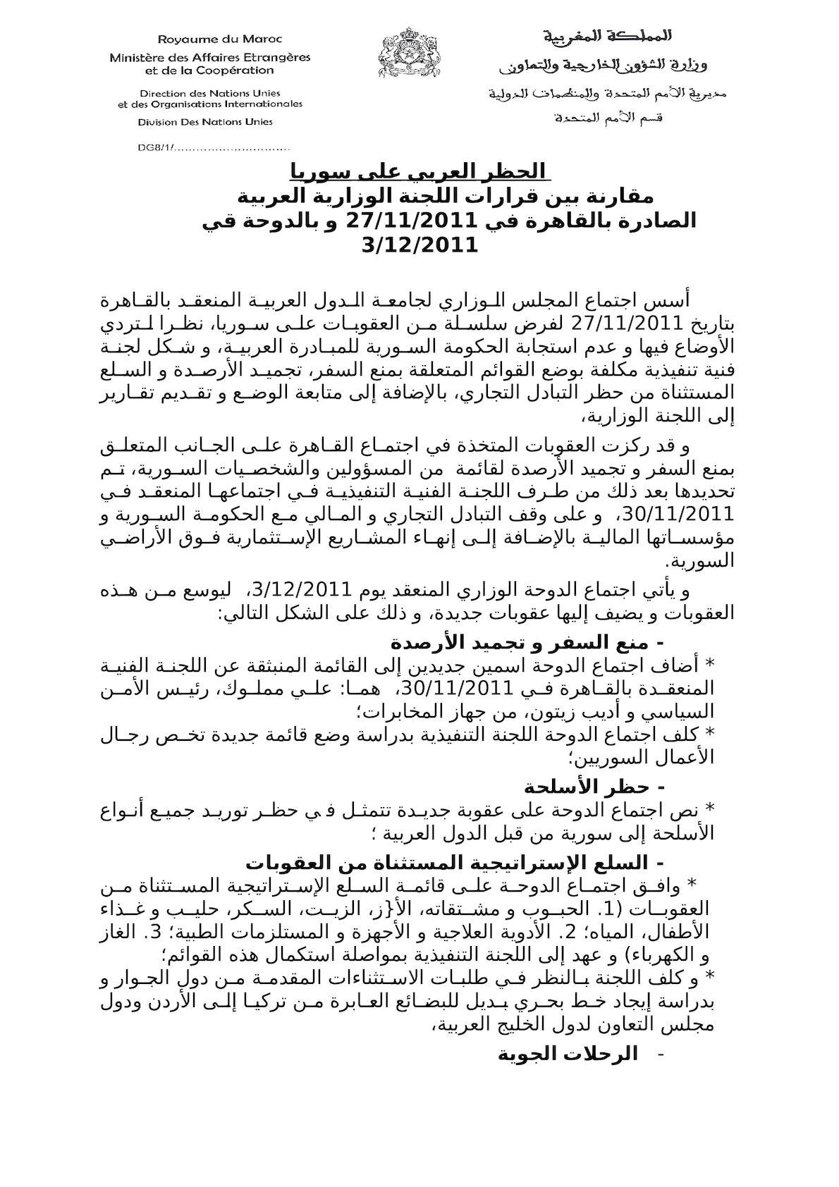 مقارنة بين اجتماع القاهرة 30 11 2011 و  اجتماع الدوحة 3 12 2011