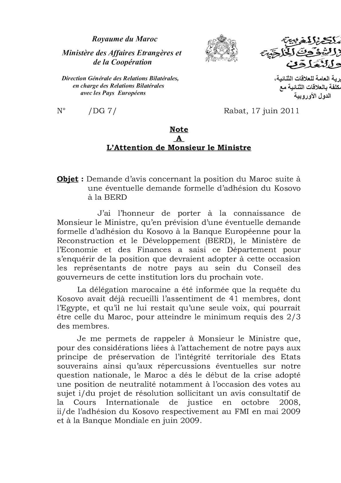 Note à Monsieur Le Ministre Kosovo BERD
