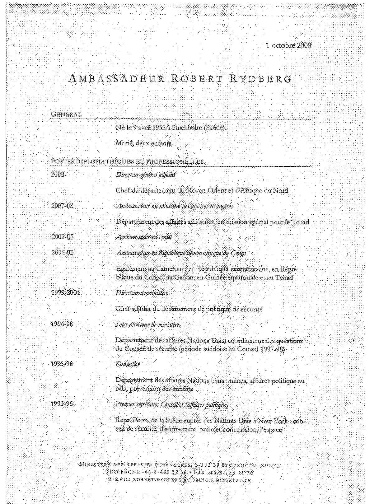 CV M. L'Ambassadeur Suèdois M. Robert Rydberg(1).