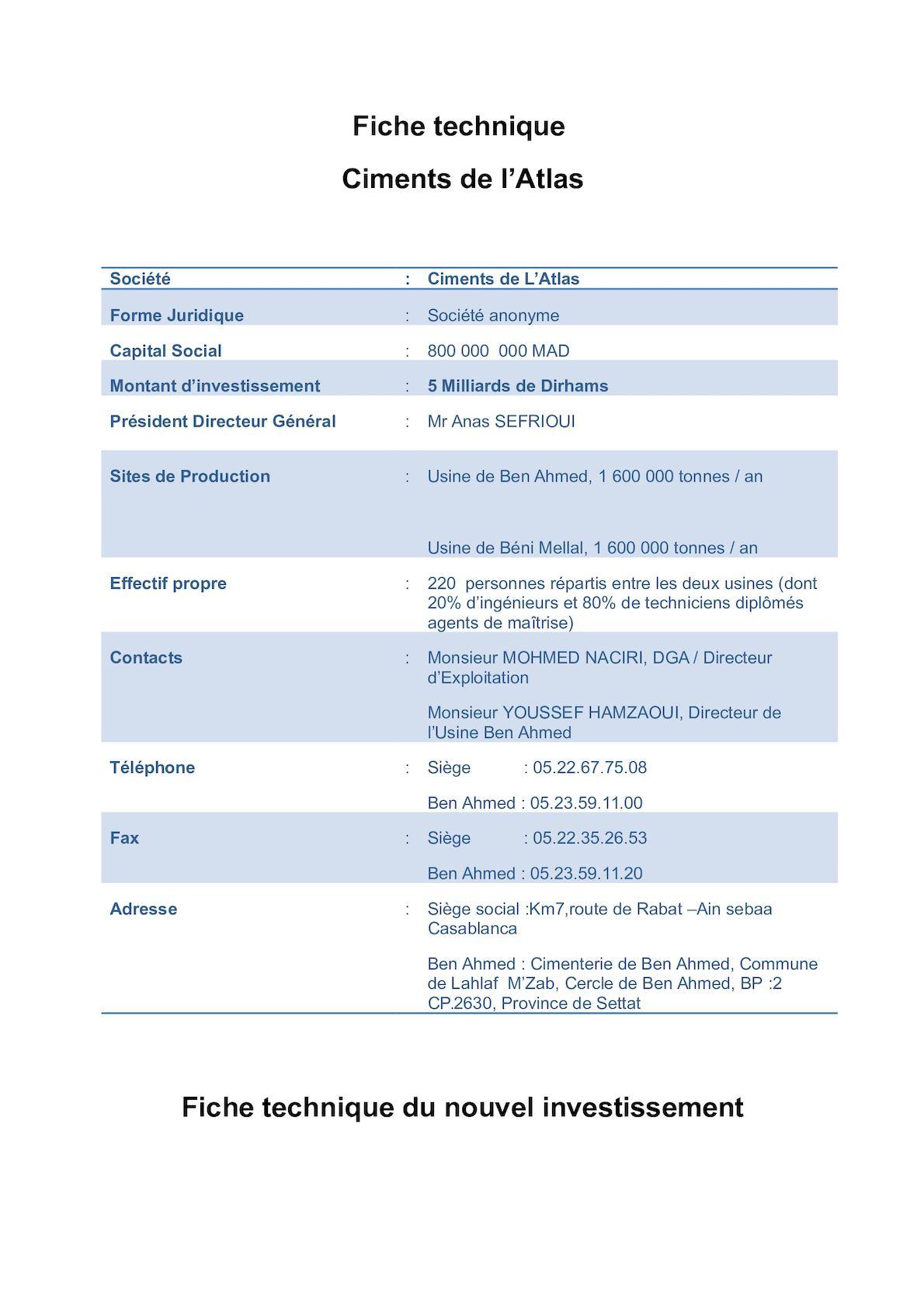 Fiches Techniques De CIMAT Et Nouvel Invest