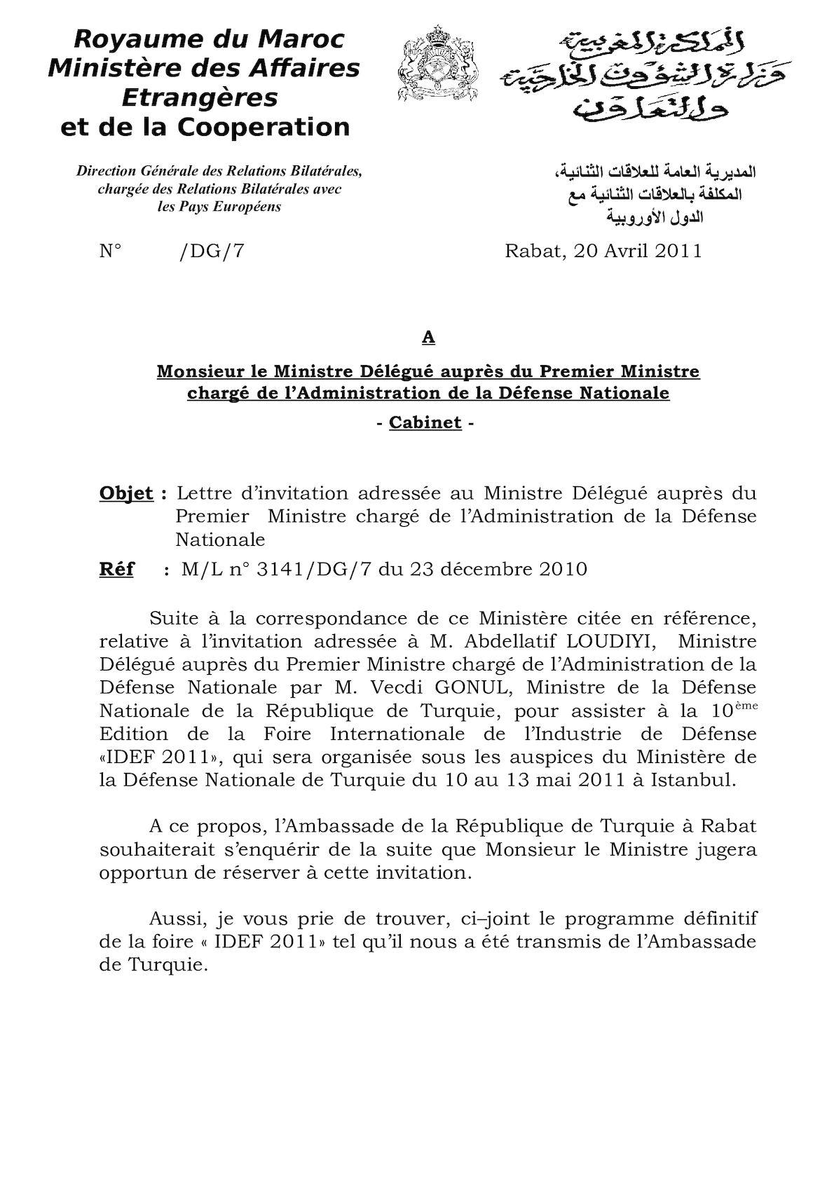 Min Dél Déf Lettre D'invitation Oudiyi 2