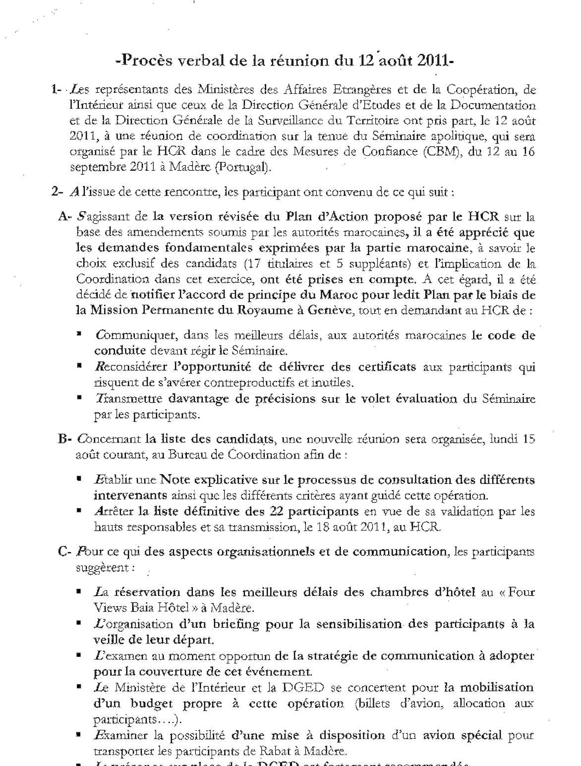 Procès Verbal De La Réunion Du 12 Aout 2011