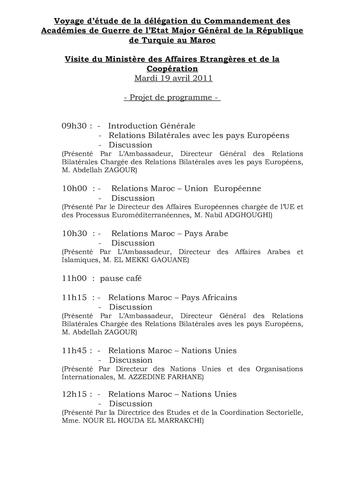 Visite Délegation Militaire Turque MAEC