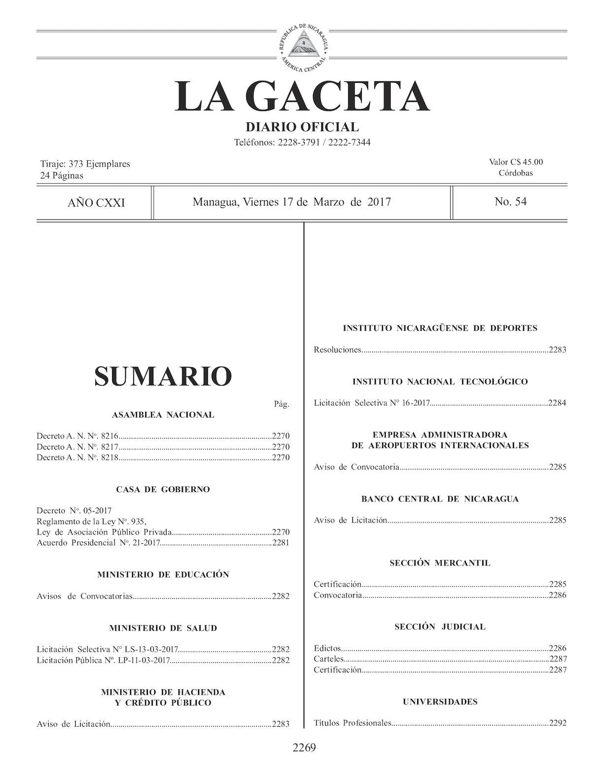 Gaceta No 54 Viernes 17 De Marzo De 2017