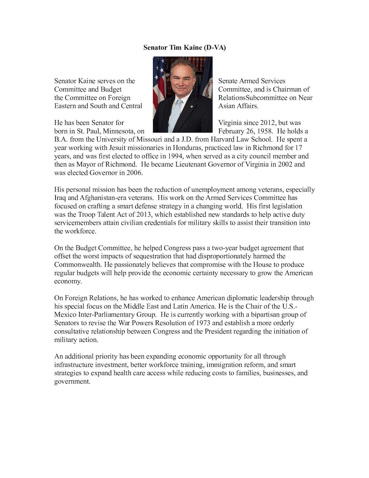 CV Senator Tim- Kaine