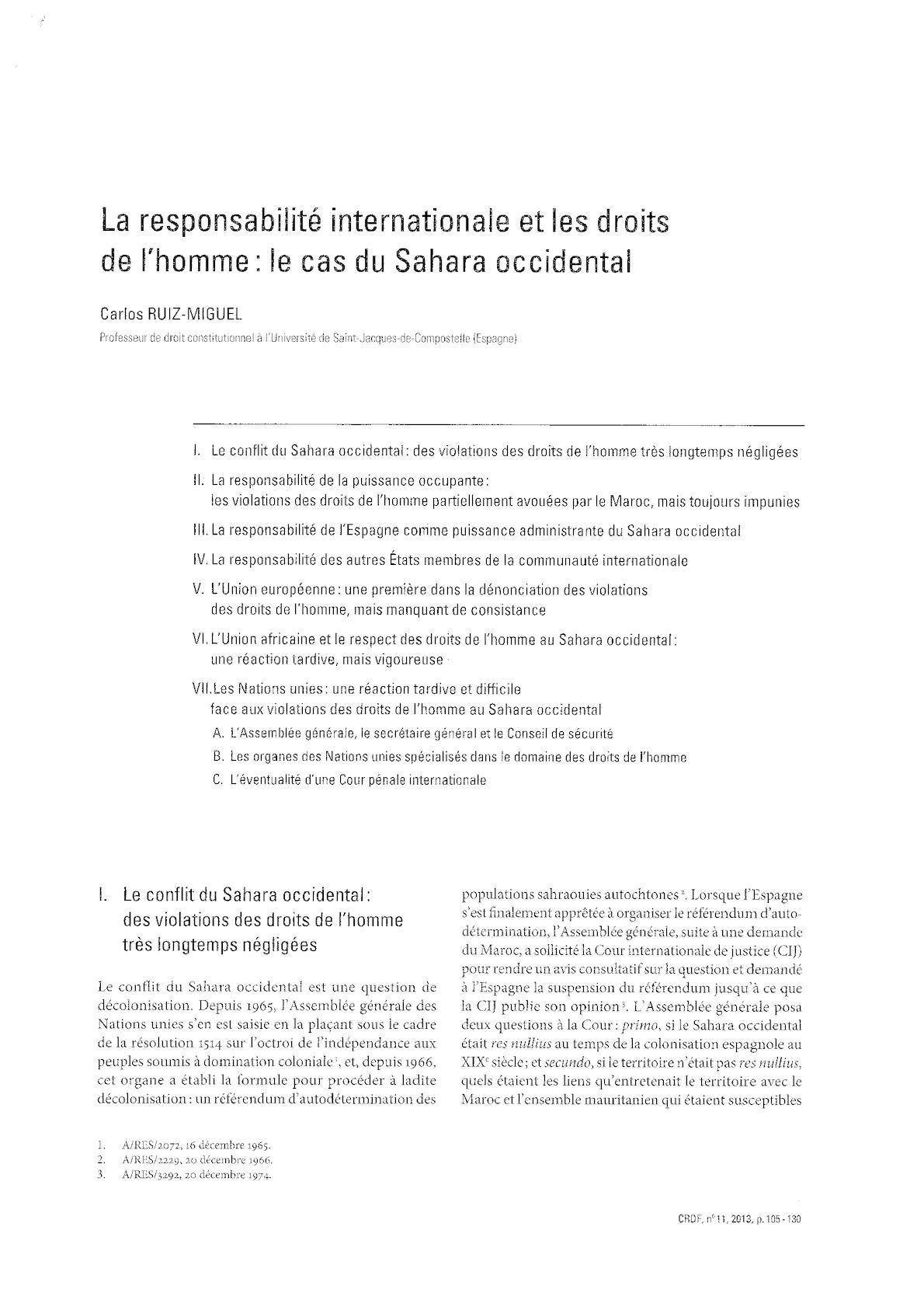 Droit International Et Droit De L'homme Le Cas De Sahara