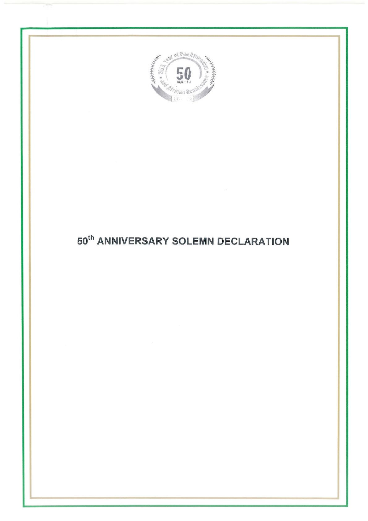 50th Anniversary Solemn Declaration