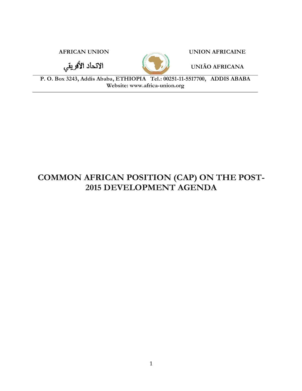 African Common Position On The Post 2015 Development Agenda - Ndjamena - FINAL[1] (1).