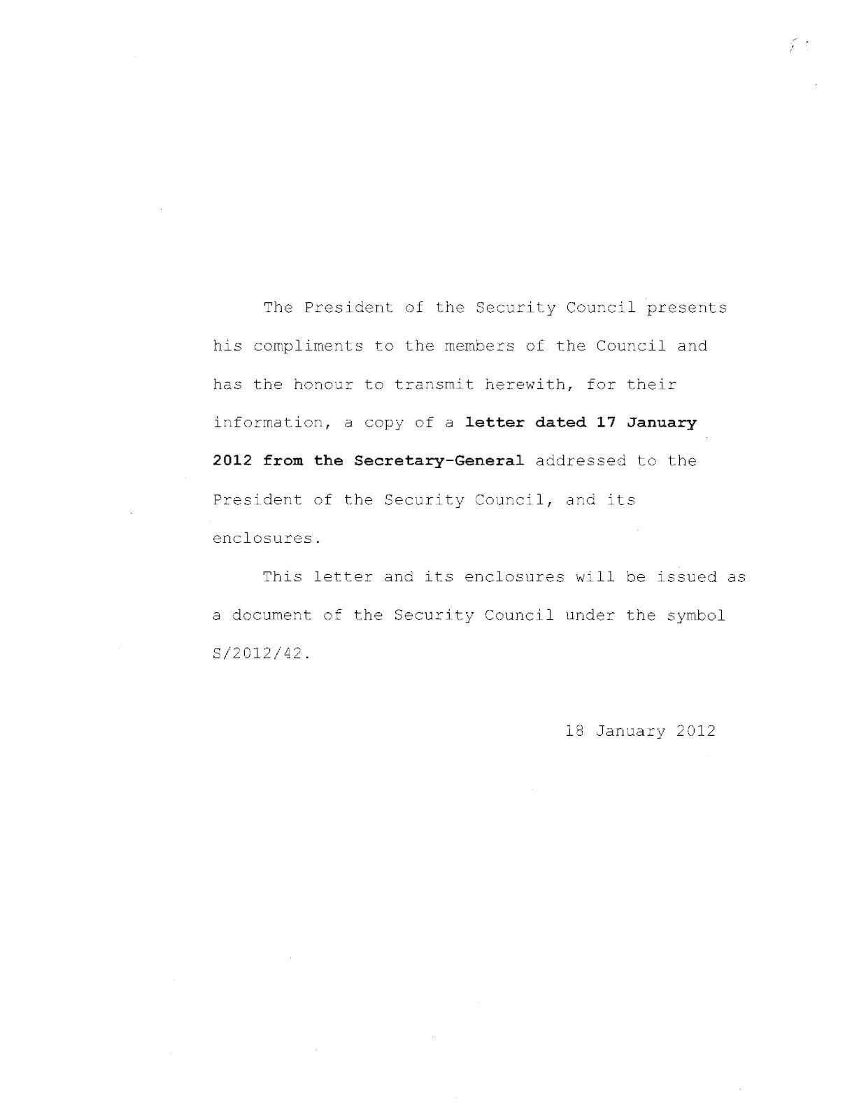 180112 Sg Letter Of 17 Jan