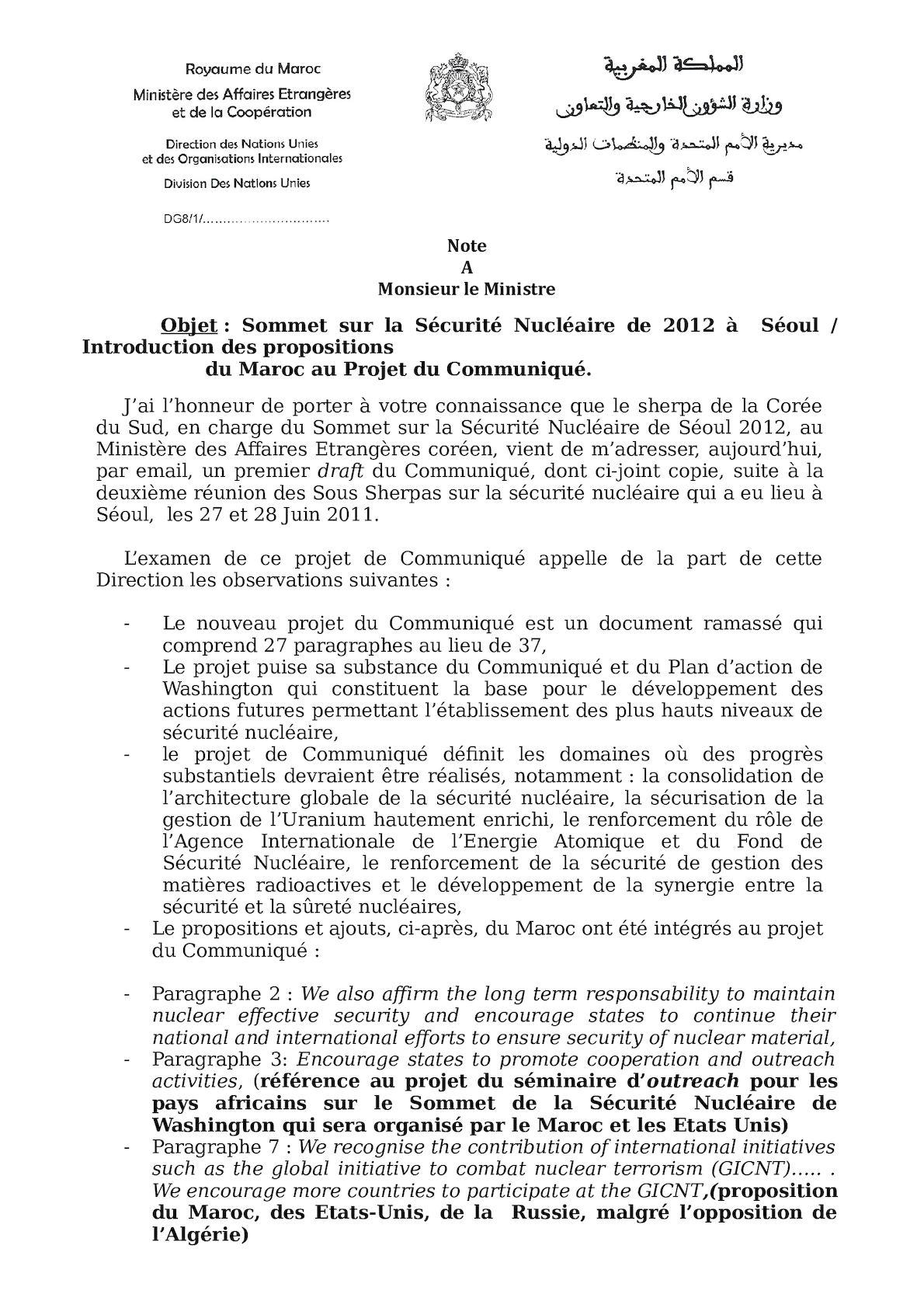 Note M Ministre  Réunion Des Ss Sherpa DRAFT COMMUNIQUE[1].