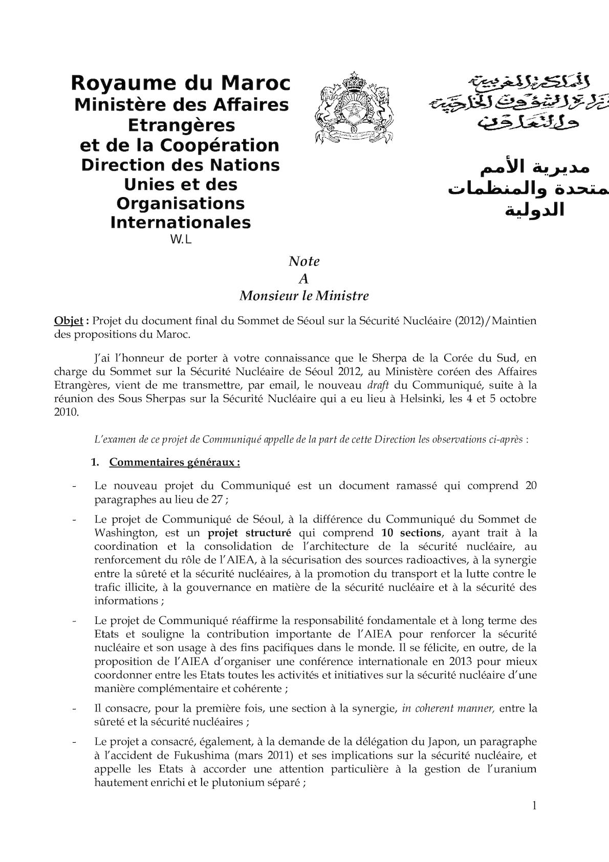 Note M. Le Ministre - Final Draft Of Seoul Communiqué (14 Nov 2011).