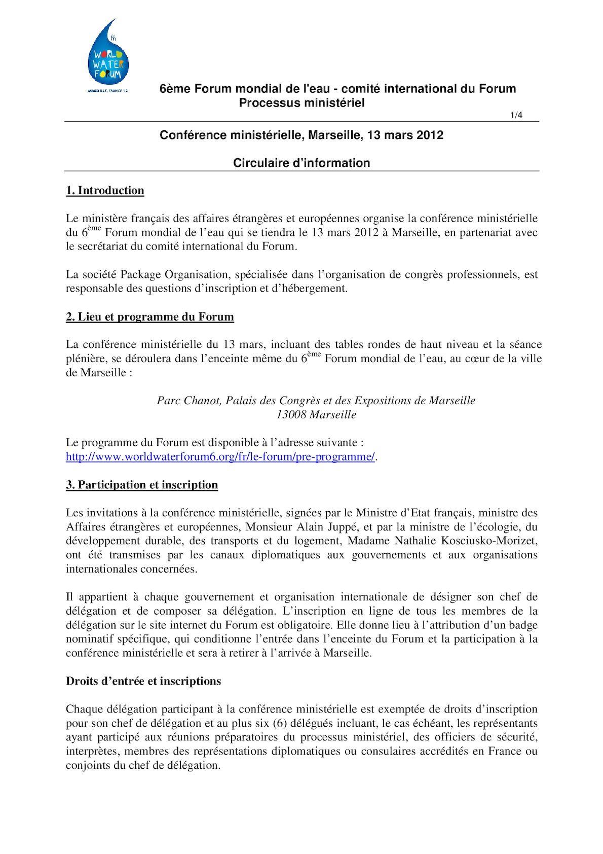 Note D'information Forum Mondial De L'eau