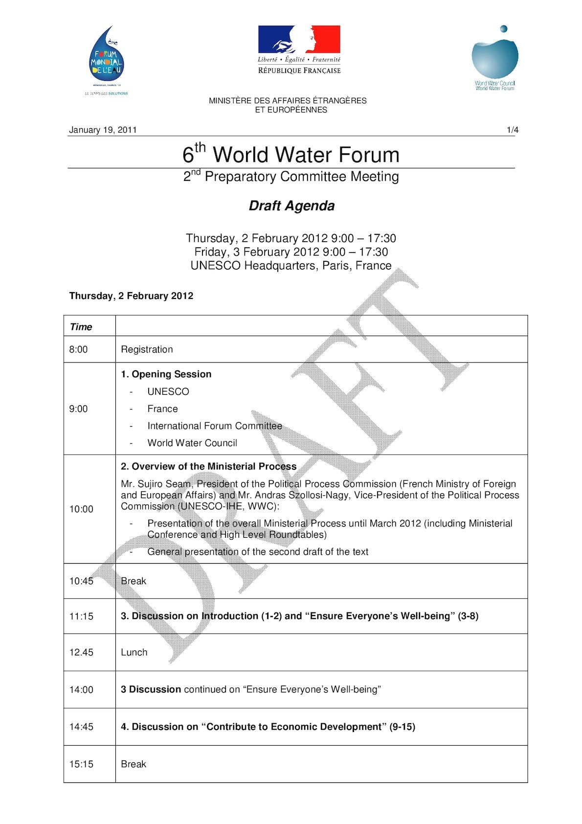 Ordre Du Jour Réunion Préparatoire Forum Mondial De L'eau