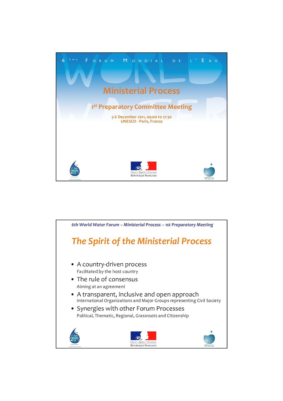 Rappel Processus Forum Mondial De L'eau