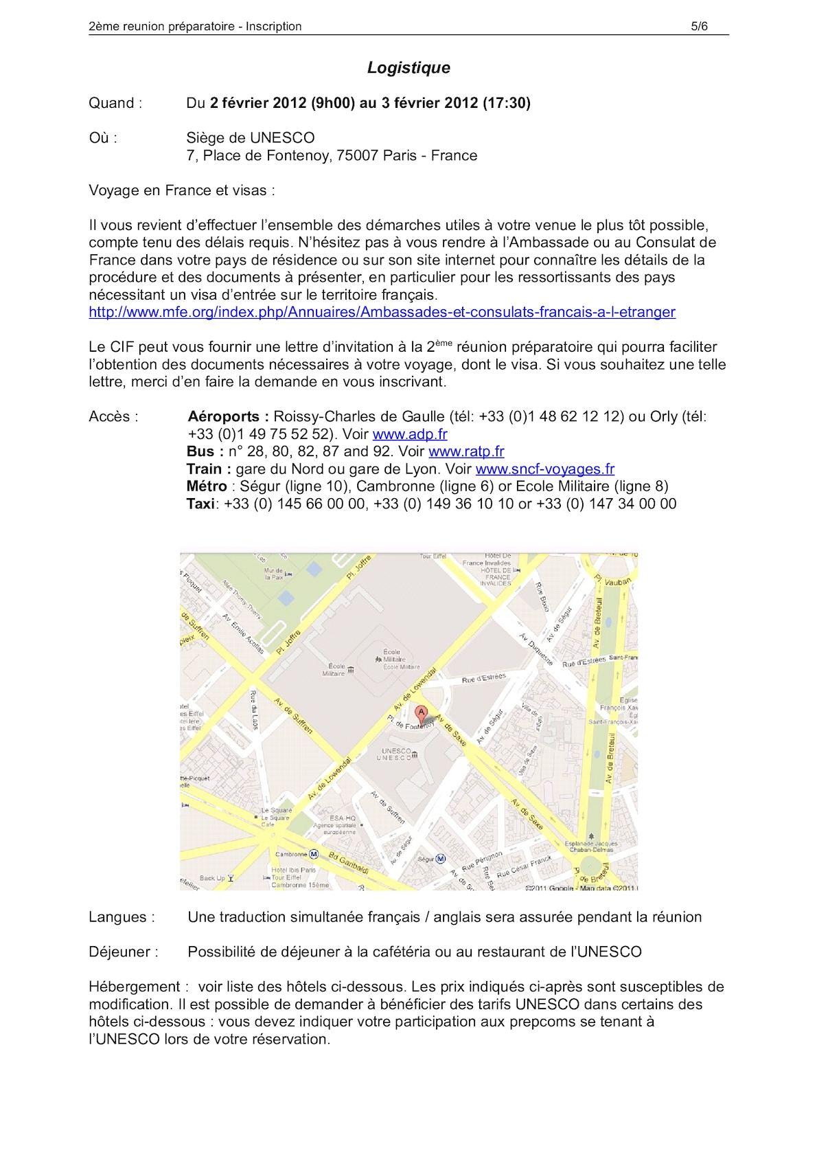 Formulaire Dinscription Runion Prparatoire Forum Mondial De Leau
