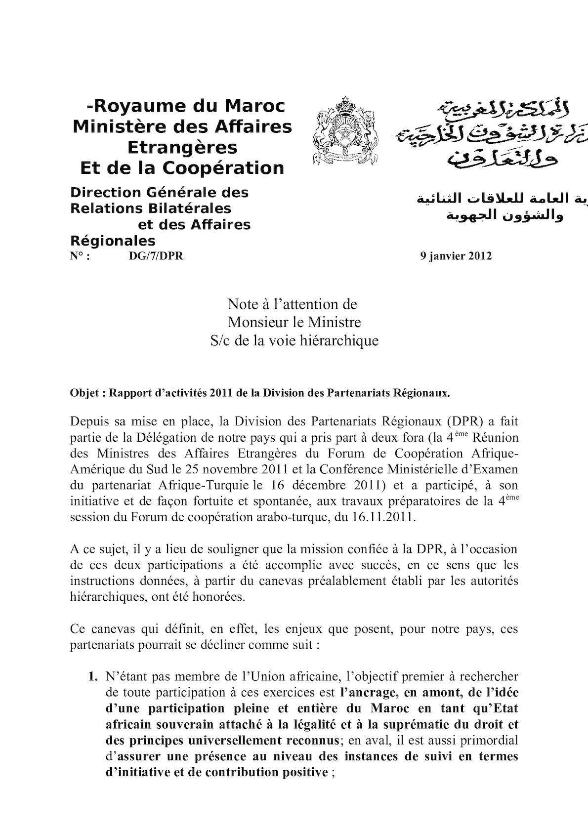 Rapport Dactivités 2011de La D P R