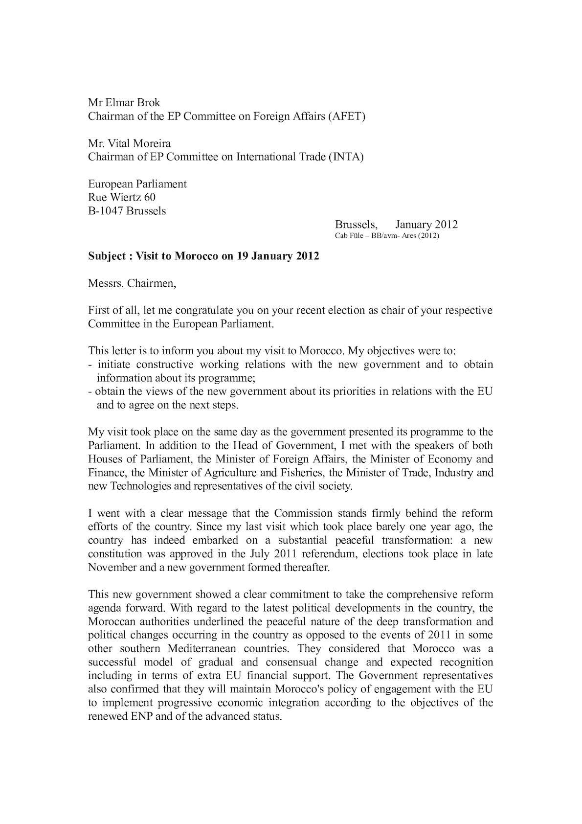 111213 Letter To Mr Brok AFET Mr Moreira INTA