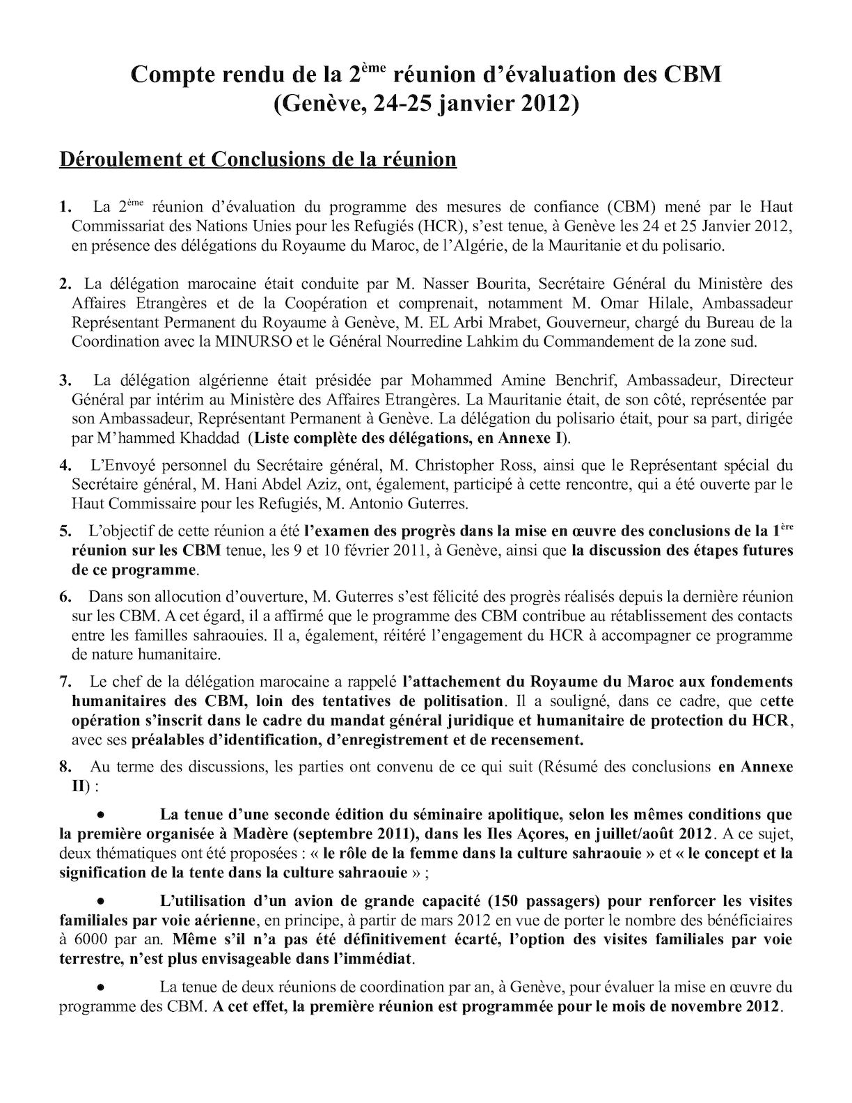 Compte Rendu Réunion éva CBM 2012