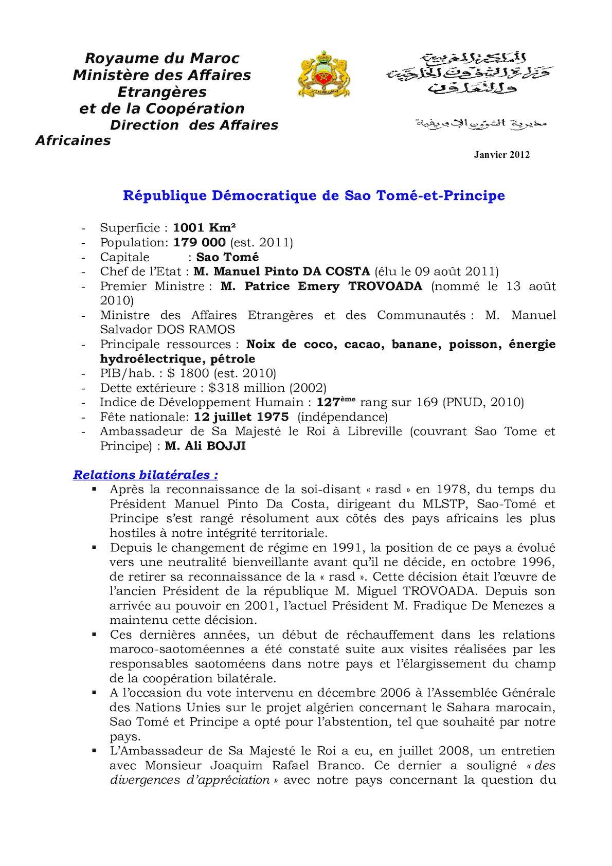 Fiche Succincte Sao Tomé Et Principé, Janvier 2012