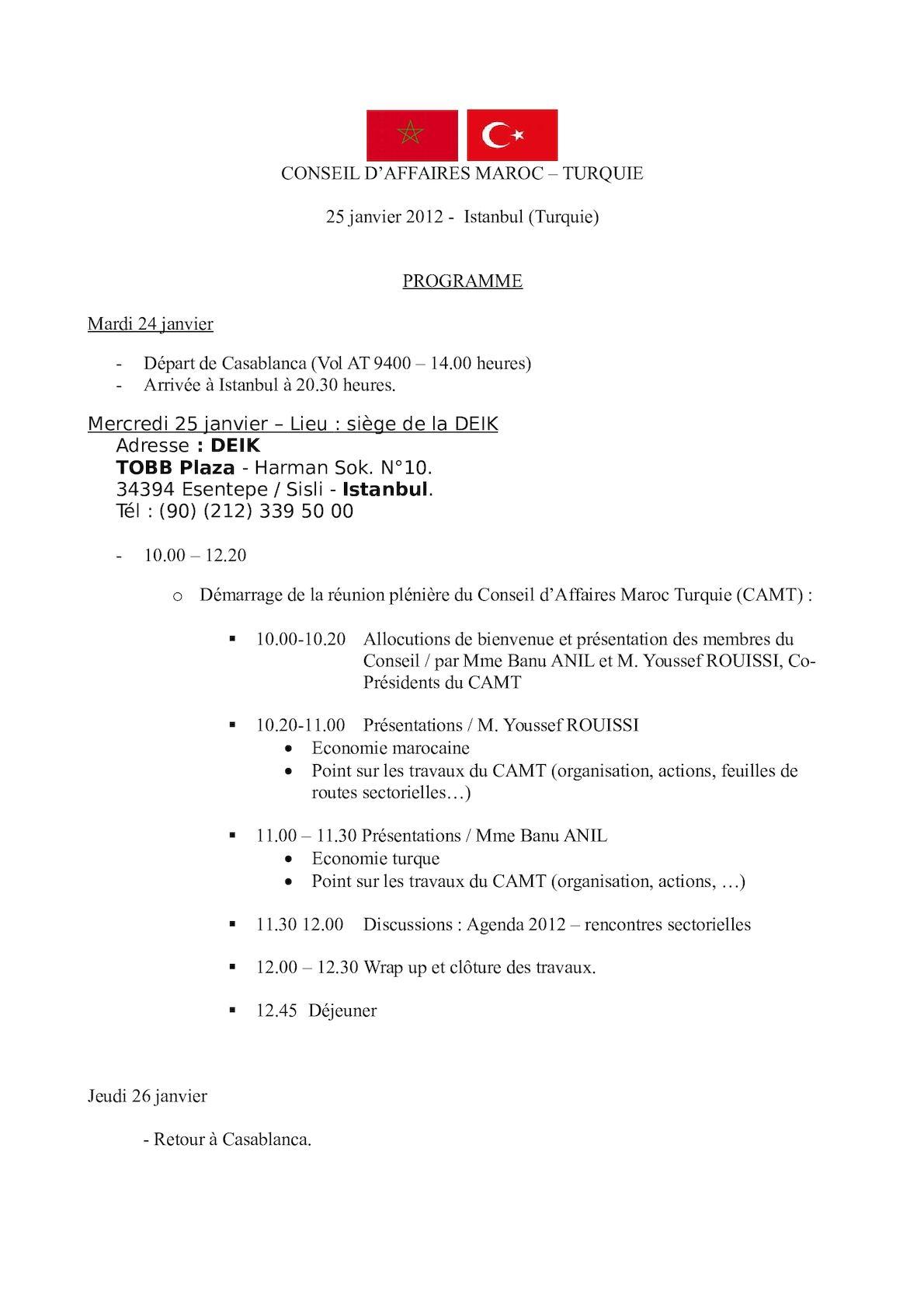Programme Réunion Du 25 Janvier 2012 à Istanbul