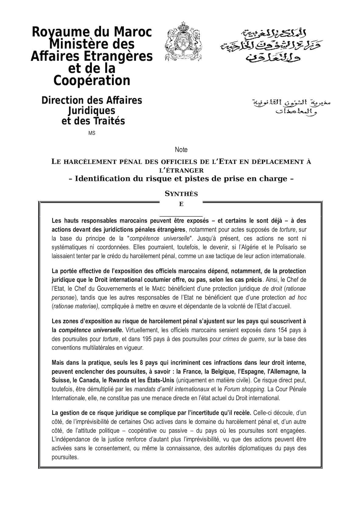 Note Harcèlement Pénal à L'étranger Final 03 03 2014