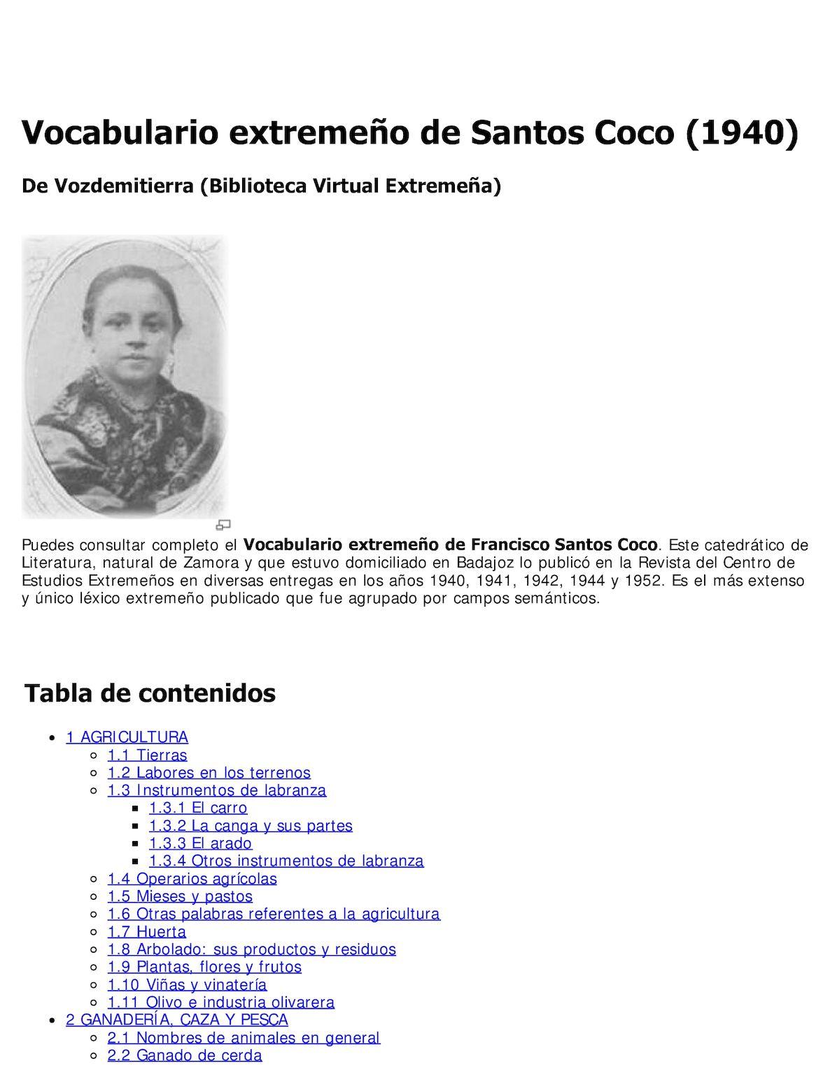 Calaméo - Vocabulario extremeño de Santos Coco (1940)