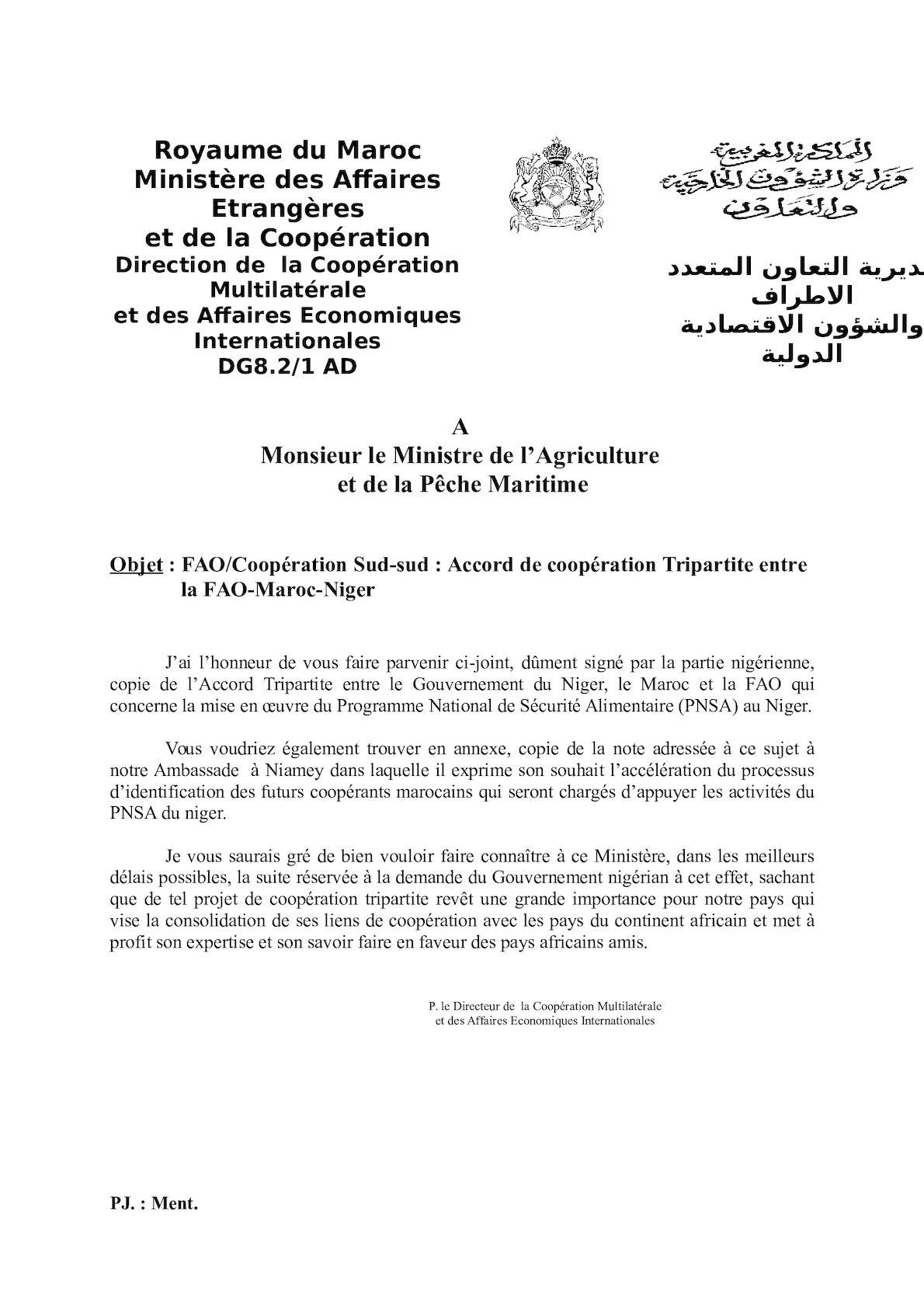 FAO Accor Tripartite FAO MOR Niger