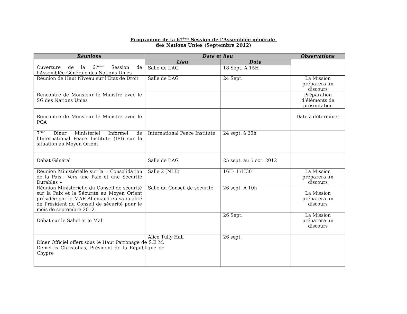 Tableau Prog. De La 67ème Session De L'AG - Septembre 2012