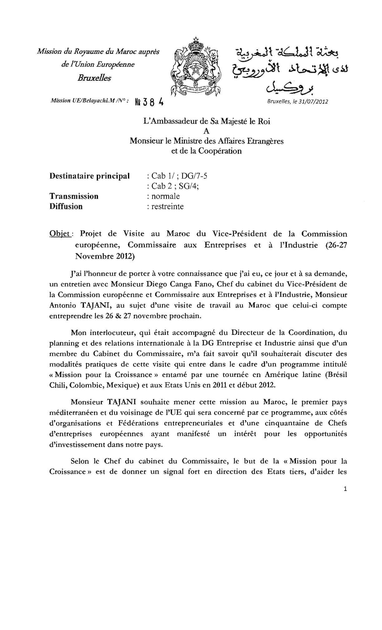 Projet Visite V Président De La Ce Au Maroc