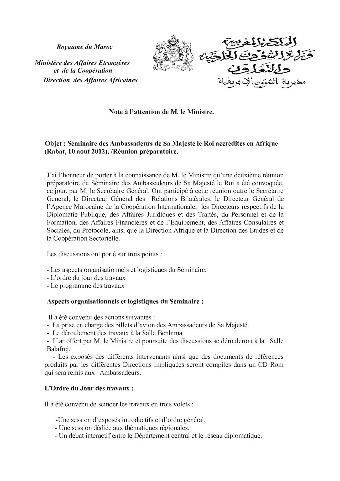 CR Réunion Préparatoire Séminaire Amb Afrique