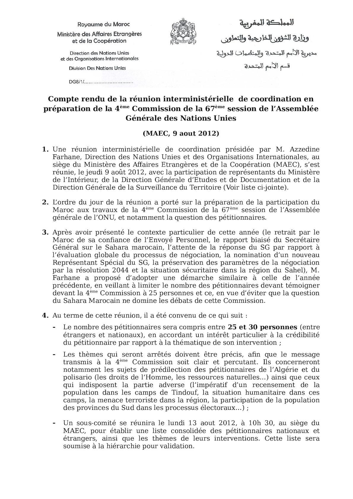 Compte Rendu Réunion Interministérielle Du 9 Aout 2012