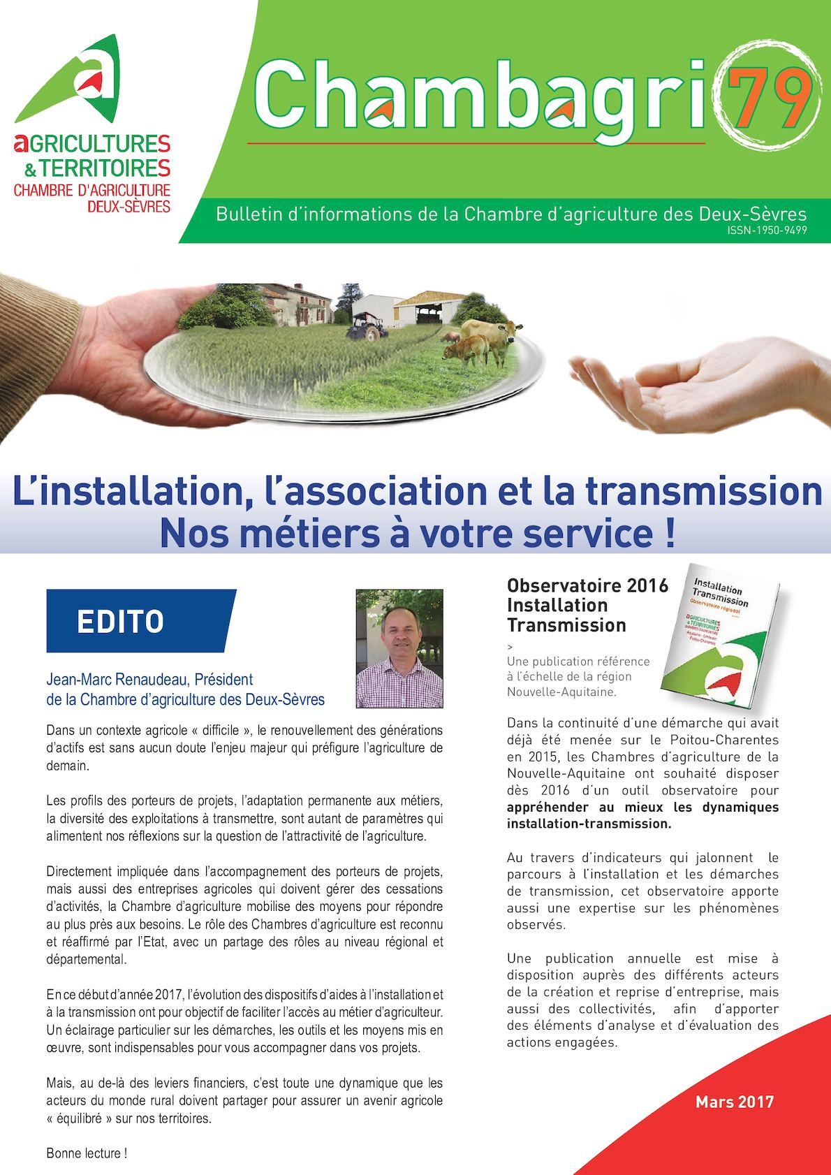 Calaméo Chambagri Mars Installation Transmission En Agriculture - Chambre d agriculture des deux sevres
